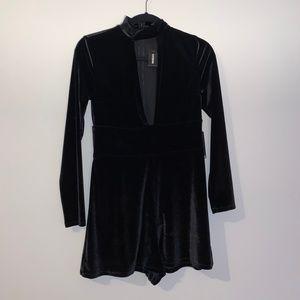 Express Long Sleeve Velvet Black Romper